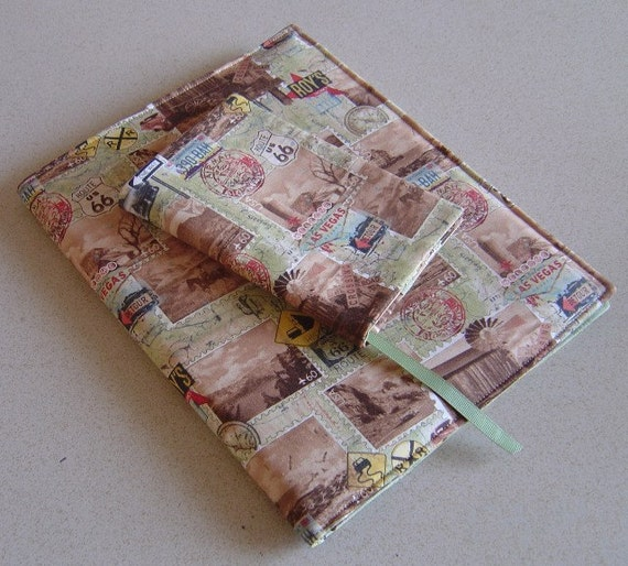 Fabric Book Covers Etsy : Items similar to travel themed fabric notebook planner