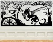 Princess with her Sword Fighting the Dragin, Fariytale, Vinyl Decal, Wall Art, Sticker, perfect for Nursery, Bedroom