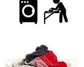 Laundry Icons (Lot of 2) Washing Machine, Washer, Iron - Decal, Sticker, Vinyl, Wall, Home, Laundry Room Decor