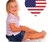 American Flag, Heart, Veteran's Day, Patriotic - Decal, Sticker, Vinyl, Wall, Home, Office, Bedroom Decor
