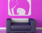 Elephant Family, Mom or Dad, Baby - Matches Giraffe Listed - Decal, Sticker, Vinyl, Wall, Home, Nursery Decor