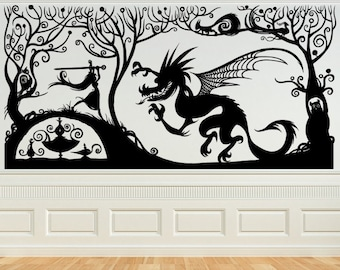 Princess with her Sword Fighting the Dragon, Fariytale, Vinyl Decal, Wall Art, Sticker, perfect for Nursery, Bedroom