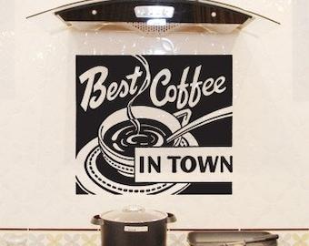 Coffee Sign, Coffee Art, Coffee Wall Decor, Coffee Beans, Joe, Sticker, Vinyl, Wall Decal, Home, Kitchen, Restaurant Wall Art, Dining Decor