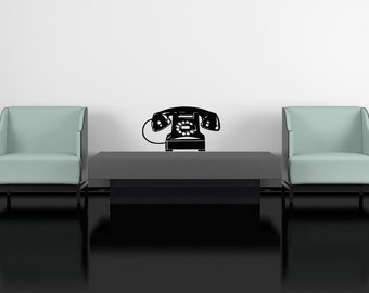 Telephone Decal, Phone Decal, Retro Wall Art, Retro Wall Decal, Retro Decor, Home Wall Art, Vinyl Decal, Kitchen Decor, Old Fashioned Decor