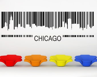 Chicago Skyline, Barcode, Illinois Decal, Vinyl Sticker, Wall Artwork, Cityscape, City Scape, Home Art, Office Decor, Bachelor Pad Decor