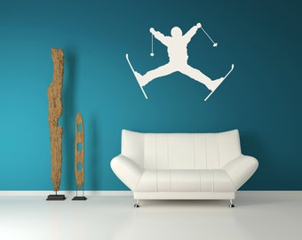 Ski Art, Jumping Skier, Ski Decor, Ski Decal, Home Decor, Wall Art Decal, Children's Decor, Kids Wall Art, Bedroom Decor, Kid's Decor