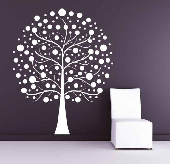 Tree with Circles, Balls, Winter, Spring - Decal, Vinyl, Sticker, Wall, Home, Nursery, Office Decor