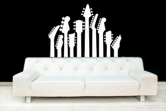 Guitar Necks, Acoustic, Metal, Electric, Rock Band - Vinyl, Decal, Wall, Sticker, Nursery, Home Decor