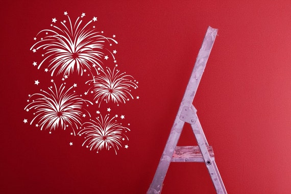 Fire Works, Fireworks, Fourth of July Decorations, 4th of July, Wall Decal, Fireworks Decal, Vinyl, Sticker, Wall, Home, Party Decorations
