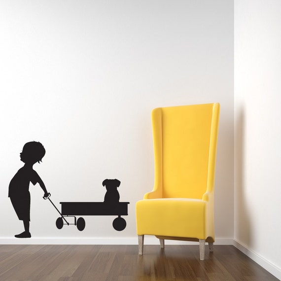 Boy, Red Wagon, Puppy Decal, Dog Wall Art, Toddler Wall Art, Kids Room Decor, Sticker, Vinyl, Wall, Home, Daycare, Playroom, Nursery Decor
