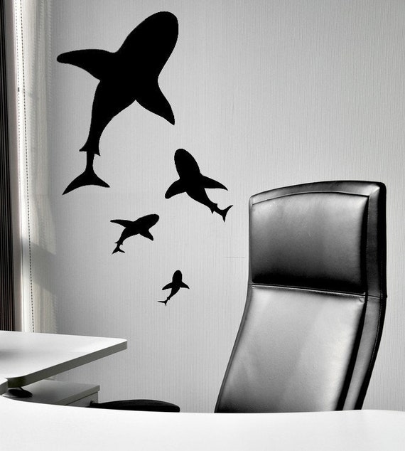 great white shark shark decor shark decal by vinylwallaccents. Black Bedroom Furniture Sets. Home Design Ideas