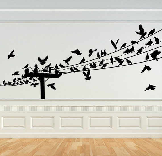 Items similar to bird decal birds on a wire wall art for Bird wall art