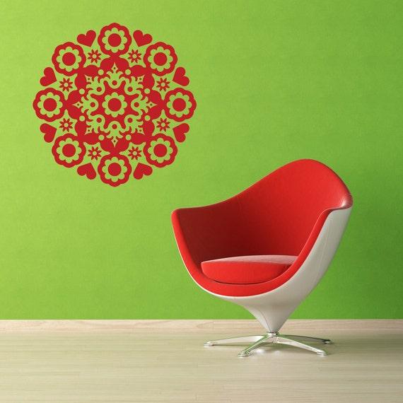 Heart Decal, Heart Decor, Flower Decal, Medallion Decal, Floral Decal, Floral Decor, Sticker, Vinyl, Home Decor, Bedroom, Nursery Wall Art