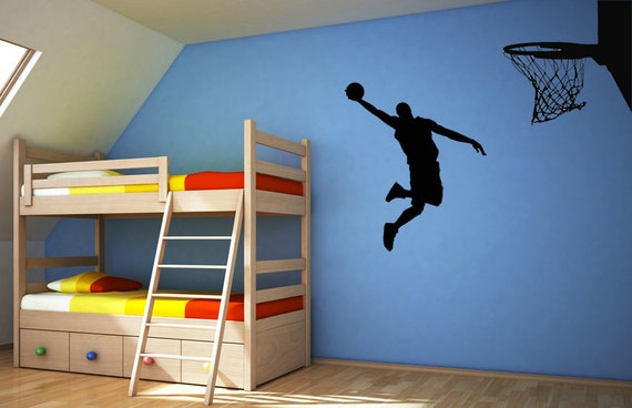Basketball Action could be Michael Jordan or popular player, Dunking ball into the Net - Vinyl Decal, Wall Art, Sticker