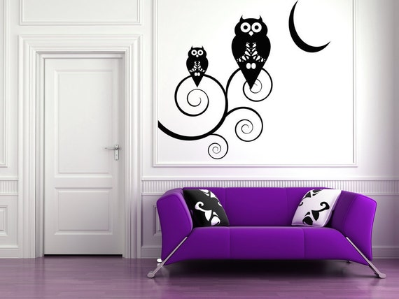 Halloween Owls on  Curly Branches by the Moon  - Vinyl Wall Art Decal