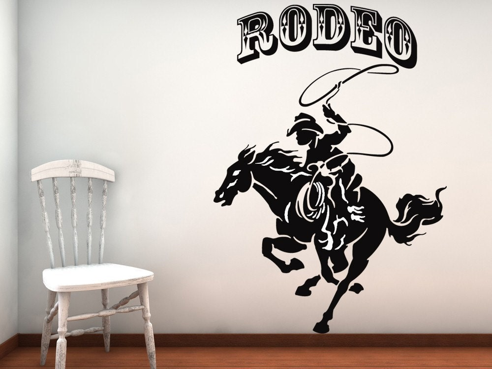 Rodeo horse and cowboy vinyl wall art decal by for Cowboy wall mural