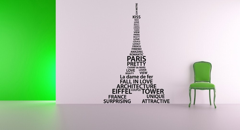 eiffel tower word cloud paris france decal by vinylwallaccents - Eiffel Tower Decor For Bedroom