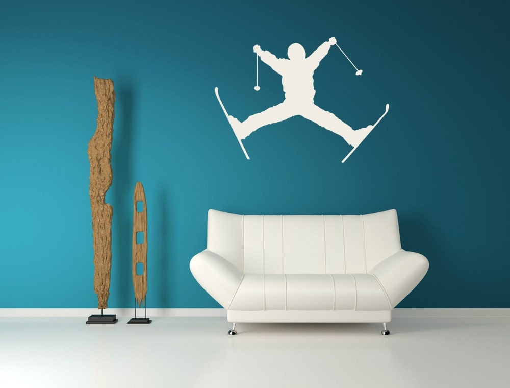 Ski art jumping skier ski decor ski decal home decor wall for Ski decorations for home