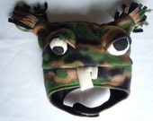 Tommy  Zombie Monster fleece hat with chin strap and tassels with moveable eyeball