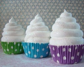 Fake Cupcake Photo Props - Made with inserts for Cupcake Toppers - 3 Polka Dot Fake Cupcakes Standard Size