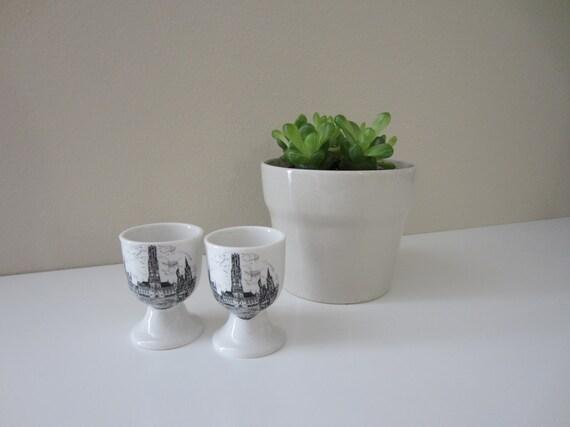 vintage set of souvenir egg cups from the belfry of bruges in belgium