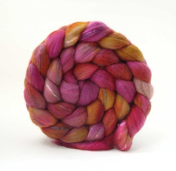 TdF SALE merino silk VIXEN roving handpainted 3.4oz