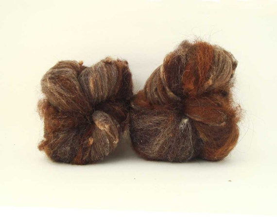 TdF SALE natural spinning batt BADGER 5.1oz manx loghtan, rambouillet, shetland, alpaca, llama