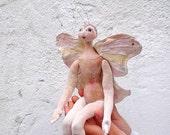 Pastel, Handpainted, handmade, OOAK , Butterfly Art Doll, Mothers day Summertime summertrends ROSE SMOKE