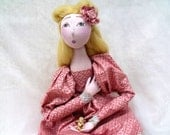 Sleeping Beauty OOAK cloth art doll jointed handmade handsewn handpainted pink  romantic cloth doll, valentines day