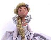 Summer style  OOAK PRINCESS, jointed art doll.  Handmade Soft Sculpture Fabric Art Doll  TITANIUM grey  handpainted romantic  cloth doll