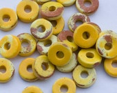 Yellow Brown Disc Beads, Round Ceramic Bead, Round Washer Bead 8mm - 30pcs- C 10 043