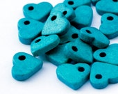 Turquoise Ceramic Heart Beads 30pcs  C 10 020