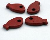 Red Ceramic Fish Beads 5pcs - C 10 042
