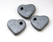 Large Silver Ceramic Heart Beads - 3pcs C 10 053