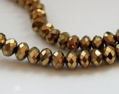 Rondelle Glass Beads Faceted Gold G 50 010