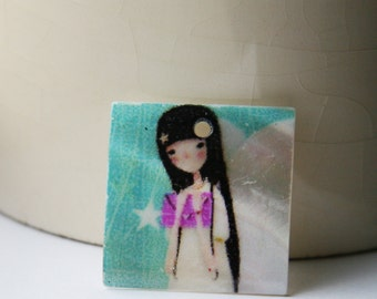 Shell Pendant, Painted Shell Square Japanese girl 25 mm  P 30 002