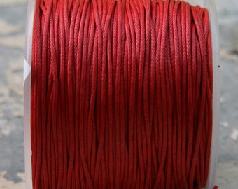 Red Waxed Cotton Cord (1mm) 10m- 11 yards S 40 037