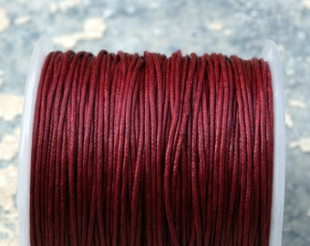 Dark Red Waxed Cotton Cord Cinnamon  (1mm) 10 m- 11 yards - S 40 045