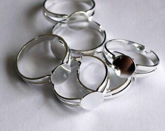 silver adjustable rings 10 pcs - F 20 015