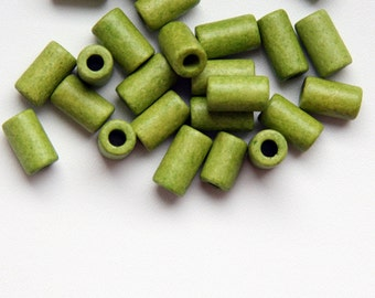 Lime Green Medium Tubes, Lime Green Ceramic Tubes 11x6 mm 22pcs C 10 087