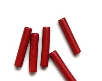 Red Ceramic Beads Long Tubes 30x6mm 4pcs C 10 088