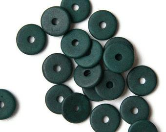 Dark Green Round Ceramic Beads  Round Washer C 10 227
