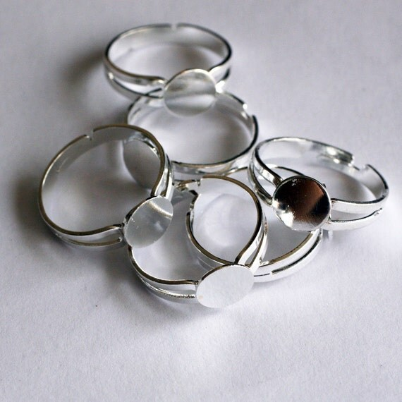 silver adjustable rings 10 pcs - F 20 015