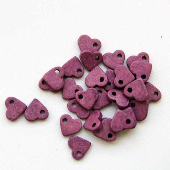 Pink Purple Ceramic Heart Beads 30pcs - BC085
