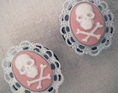 3/4 inch 19mm Plugs Pink Jolly Roger Pirate Cameo Rococo Victorian Mourning Macabre Pirate Horror Corporate Goth Dark