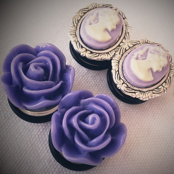 5/8 inch 16mm Plugs Lavender Lady and Roses Regency Cameo Rococo Victorian Marie Antoinette EGL Woman
