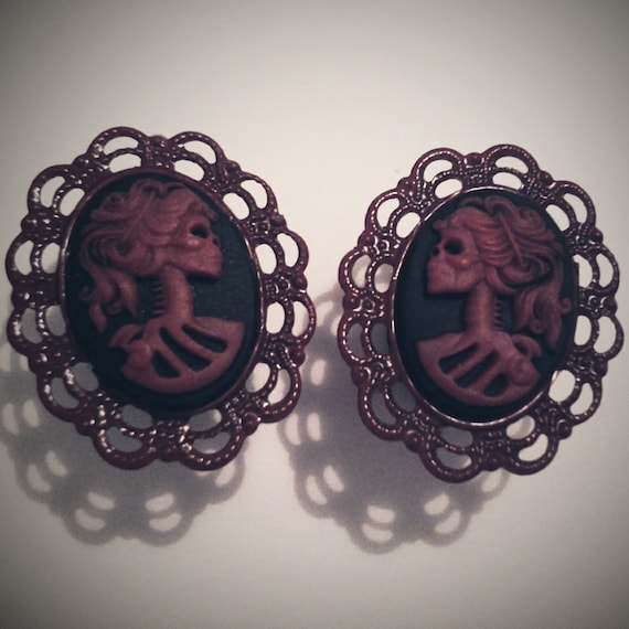 0g 8mm Plugs Red Black Skeletina Antique Brass Gothic Cameo Rococo Victorian Mourning Macabre Pirate Horror Corporate Goth Dark