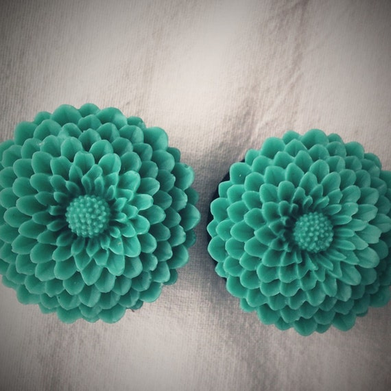 1 3/16 inch 30mm Double Flare Plugs Teal Turquoise Flower Dark Gunmetal Rococo Not Steampunk EGL Kawaii Kitsch Cute Flowers