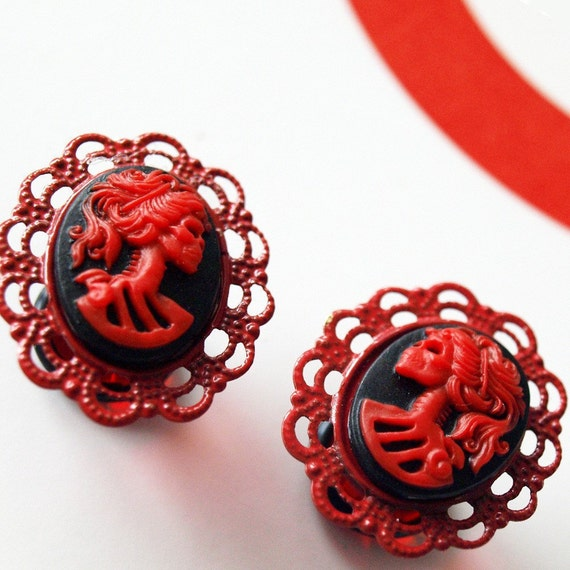 1/2 inch 13mm Plugs Red Skeletina Gothic Cameo Rococo Victorian Mourning Macabre Pirate Horror Corporate Goth Dark