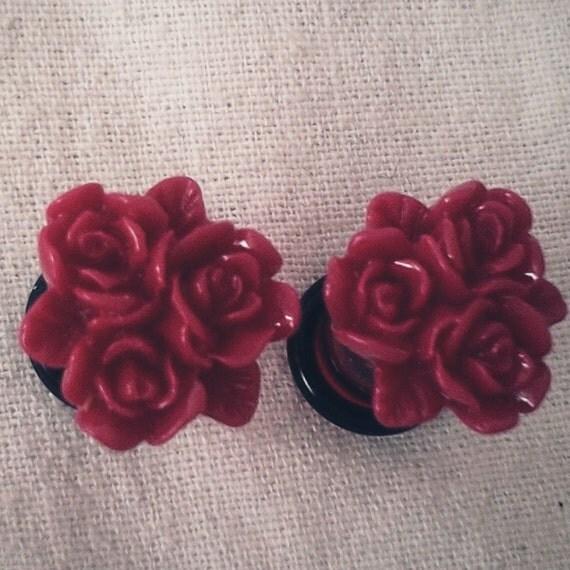 0g 8mm Red Cluster Roses Acrylic Plugs Gauged Studs pastel Flower Plugs Decora body piercings Gyaru